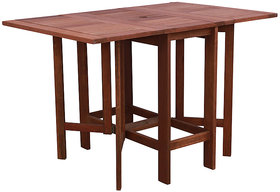 Foldable  Compact Four Seater Dining Table in Natural Brown Finish by Aura