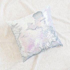 Mermaid Pillow Reversible Sequin Pillow that Changes color by Ankit - Holographic White Silver