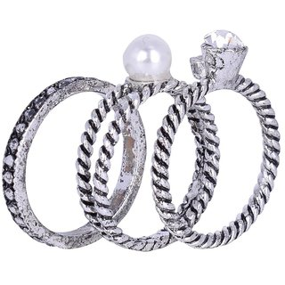 Fascraft Set Of 3 German Silver Finger Ring With Pearl and Crystals Embedded On Top Size 16