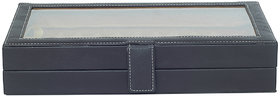 Leather World 3.4 Liter Black PU Leather Stylish Pen Display Case with Clasp Closure Travel Bag