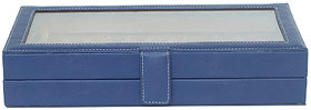 Leather World 3.4 Liter Blue PU Leather Stylish Pen Display Case with Clasp Closure Travel Bag