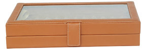Leather World 3.4 Liter Tan PU Leather Stylish Pen Display Case with Clasp Closure Travel Bag