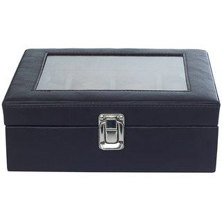 Leather World 8 Watch Box Black PU Leather Designer Watch Display Case with Lock Closure Travel Bag