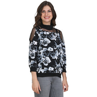 BuyNewTrend Crepe Black N White Printed Lace Top For Women