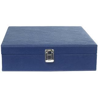 Leather World 7 Liter Blue PU Leather Designer Watch Display Case with Lock Closure Travel Bag