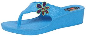 KAYSTAR Stylish & Trendy Look Blue Flower Wedges Heel S