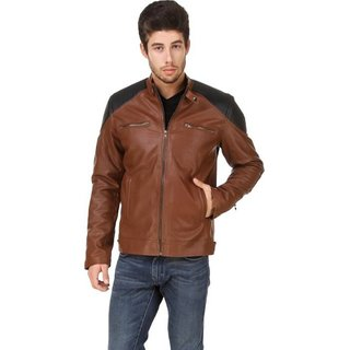 Garmadian Brown Casual Pu Leather Jacket For Men, Boys