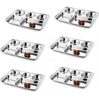stainless steel compartment thaal set of 6