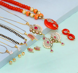Khushboo's - American Diamond Combo of 6 Mangalsutra With Earrings For Women