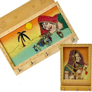 shoppingtara Buy Jaipuri Gemstone Painted Key-Magazine Holder n Get Another Free