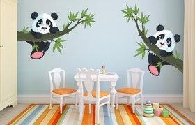 Eja Art Panda Hanging On A Branch Vinyl Multicolor Wall Stickers