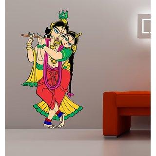 EJA Art Radhe Krishna Multicolor Removable Decor Mural Wall Stickers Sticker