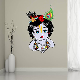 EJA Art Bal Krishna Multicolor Removable Decor Mural Wall Stickers Sticker