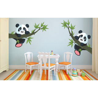 Eja Art Panda Hanging On A Branch Vinyl Multicolor Wall Stickers