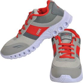 Camro Men's Red  Grey Stylish Synthetic Sports  Running Outdoor Shoes