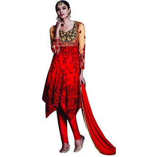 PR Fashion Beige & Red Net Top Semi Stitched Suit