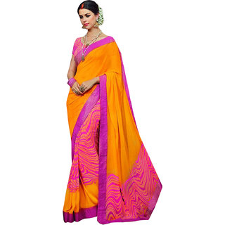 PR Fashion Georgette Dark Yellow Saree With Unstitched Blouse