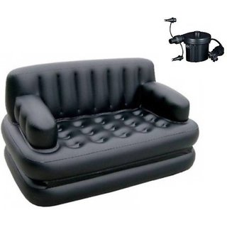 J Go 5 in 1 Inflatable Sofa Cum Queen Size Bed Free Electric Air Pump (Color - Black)