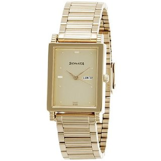 Sonata Analog Gold Rectangle Watch -7058YM05