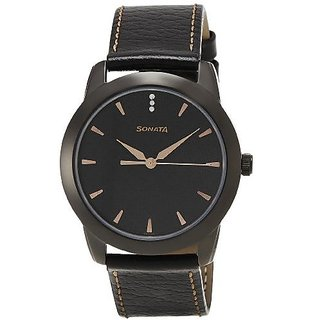 Sonata Analog Black Round Watch -7924NL01