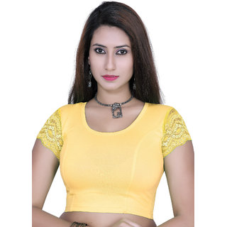 Gargi Ladies 4-Way Stretchable Body With Net on S/Sleeve Blouse.