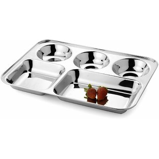 Jagani Stainless Steel Plate Five Compartment Thali 5 in 1 Divided Dinner Plate Regular Mess Trays Camping Dish
