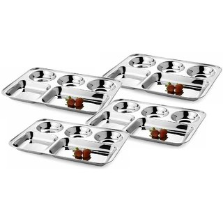 Jagani Stainless Steel Plate Five Compartment Thali 5 in 1 Divided Dinner Plate Regular Mess Trays Camping Dish Set of 4