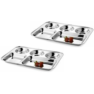 Jagani Stainless Steel Plate Five Compartment Thali 5 in 1 Divided Dinner Plate Regular Mess Trays Camping Dish Set of 2
