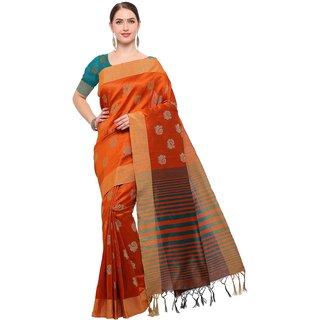 Meia Womens Orange Colored Tussar Silk Jacquard Buti Party Wear Maheshwari Saree