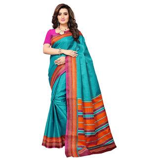 Swaron Women's Turquoise and Orange Colored Art Silk Printed Casual Wear Saree