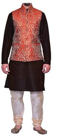 INYOUR BROWN Silk Kurta Pyjama Set Pack of 3
