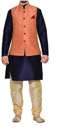INYOUR DARK BLUE Silk Kurta Pyjama Set Pack of 3