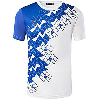 Dri Fit White Round Neck Sports T shirt With Blue Design for Men