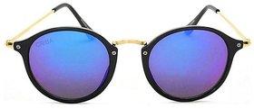 Aligator Blue UV Protection Round Unisex Sunglasses