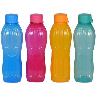 Signoraware Aqua Fresh Plastic Water Bottle 500ml Set of 4 (color may vary)