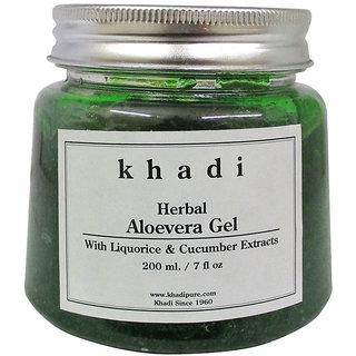 Khadi Herbal Aloevera Gel with Liquorice Cucumber Extracts (Green) - 200g