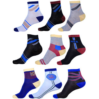 Unisex Multicolor Pack of 9 Ankle Socks