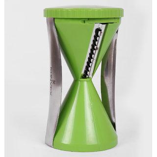 Bluzon ABS Plastic, Stainless Steel 1 Spiral Slicer Vegetable Slicer (Green)