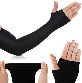 EquatorZone Slim Sunscreen Ice Sleeve Cuff Riding Driving Arm Sleeve (Unisex) - Black