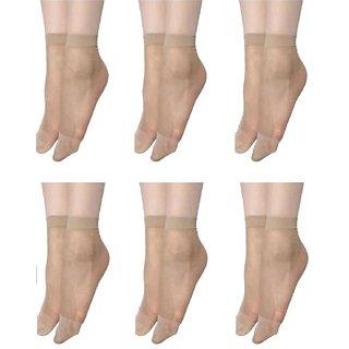 EquatorZone Pack of 6 Skin Ultra-Thin Transparent Nylon Socks for Women/Girl's (Ankle Length)
