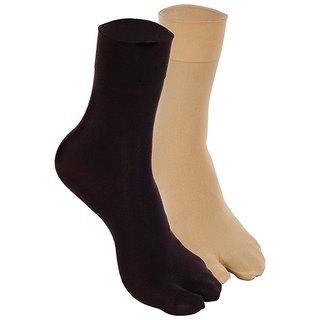 EquatorZone Summer Ladies Thumb Socks Pack of 2 Pairs (Black  Beige)