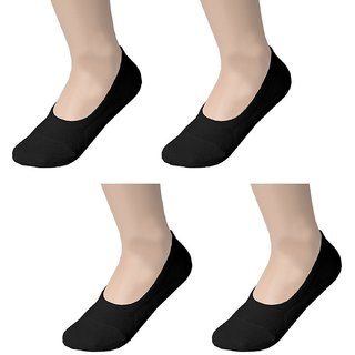EquatorZone No Show Cotton Loafer Socks with Loafer Shoes, Prevent Smell  Sweat from Feet -Pack of 4 Pairs (Black)