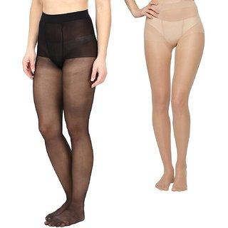 EquatorZone Women's Black  Beige Sheer Pantyhose / Stockings for Medium Size (Fits Waist 24-34)