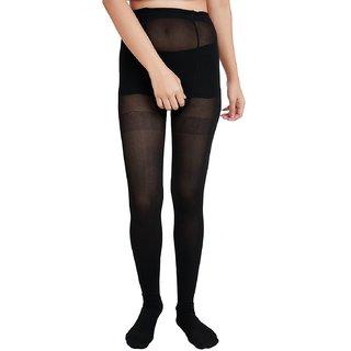 EquatorZone Women's Black Full Waist to Toe Stockings (Make in India)