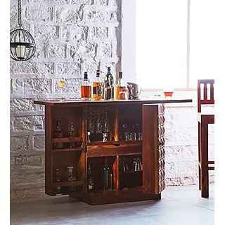 Santosha Decor Pre-Assemble Sheesham Wood Stylish Bar Cabinet - Wine Rack With Wine Glass Storage for Living Room
