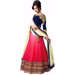 Florence Pink and Blue Net Embroidered Semi-Stiched Bollywood Wedding Lehenga Choli Dupatta