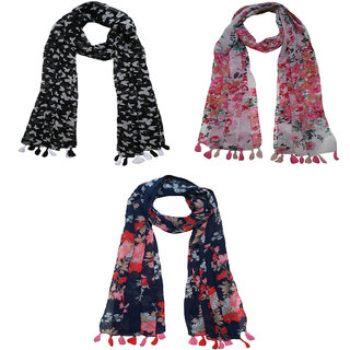 Printed Chiffon Set of 3 Mullticoloured stoles Designer scarf stoles dupatta for Girls / Ladies / Women's