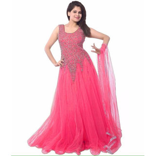 Florence Pink Net Embroidered Semi-Stiched Gown