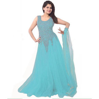 Florence Turquoise Blue Net Embroidered Semi-Stiched Gown