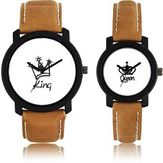 TRUE CHOICE LEATHER BRWON KING QUEEN ANALOG COUPLE WATCH.